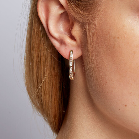Hoop Earrings with 1/2 Carat TW of Diamonds in 10kt Yellow Gold
