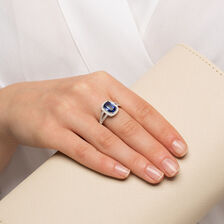 Halo Ring with Dark Blue & White Cubic Zirconia in Sterling Silver