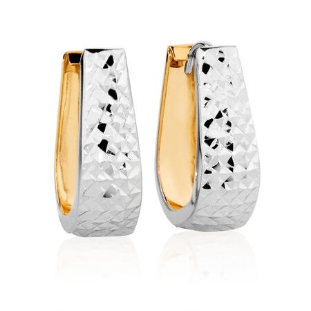 Hoop Earrings in 14kt Yellow & White Gold