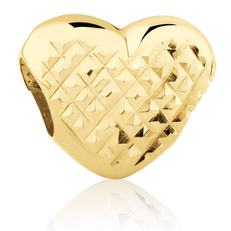 Heart Dimple Charm in 10kt Yellow Gold