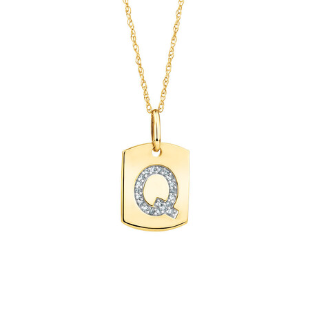 """Q"" Initial Rectangular Pendant With Diamonds In 10ct Yellow Gold"