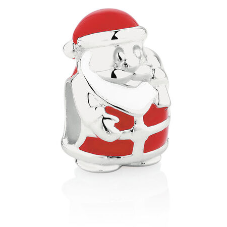 Santa Charm with Red Enamel in Sterling Silver