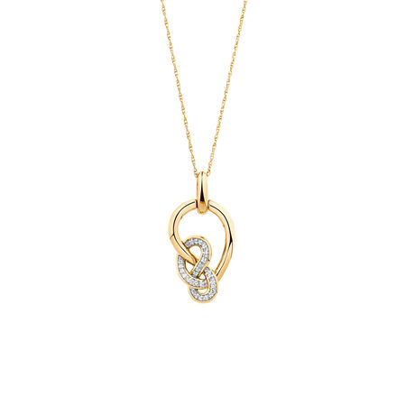 Small Knots Pendant with 1/6 Carat TW of Diamonds in 10kt Yellow Gold