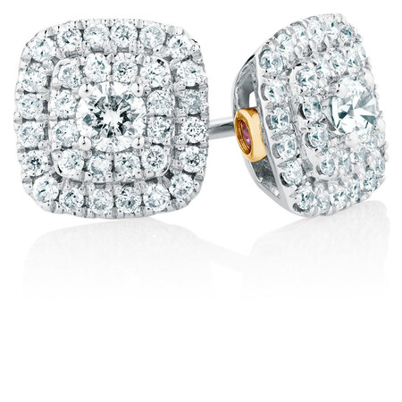 Michael Hill Designer Arpeggio Stud Earrings with 1/2 Carat TW of Diamonds in 14kt White & Rose Gold