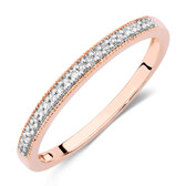 Wedding Band with 1/15 Carat TW of Diamonds in 10kt Rose Gold