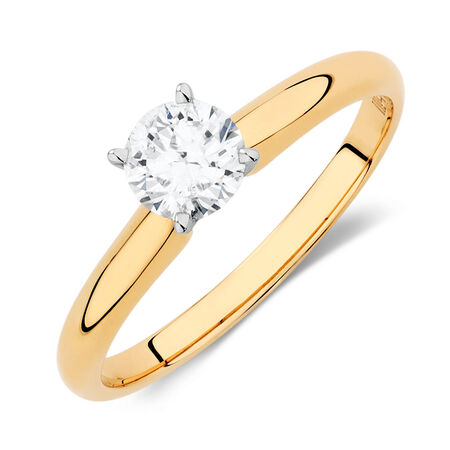 Solitaire Engagement Ring with a 1/2 Carat Diamond in 14kt Yellow & White Gold