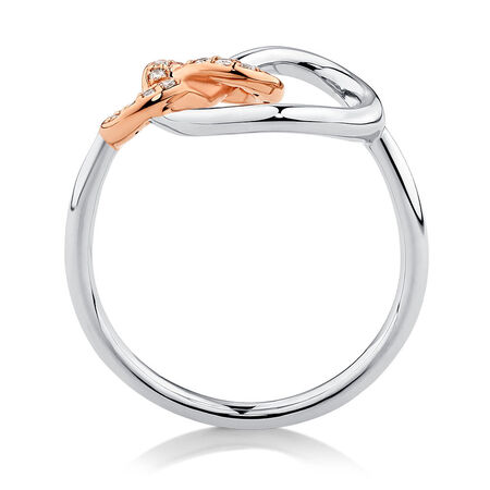Knots Ring with 1/10 Carat TW of Diamonds in Sterling Silver & 10kt Rose Gold