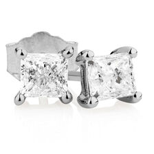 Stud Earrings with 1 Carat TW of Diamonds in 14kt White Gold