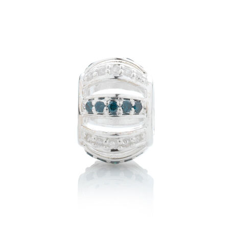 Online Exclusive - Charm with 0.15  Carat TW White & Enhanced Blue Diamonds in Sterling Silver