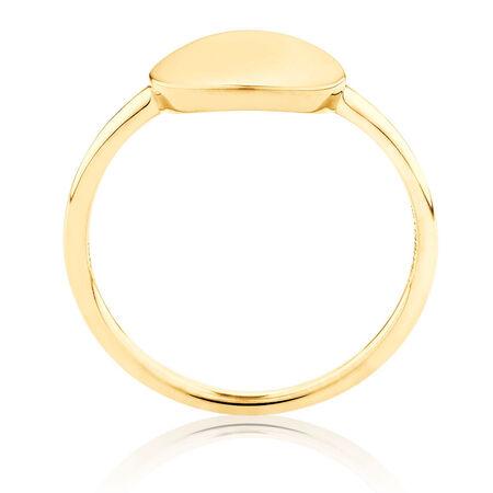 Plain Circle Mini Signet Ring In 10kt Yellow Gold