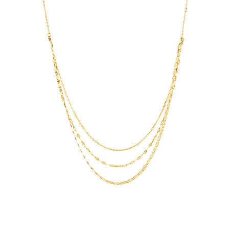 Adjustable Layer Chain Necklace in 10kt Italian Yellow Gold