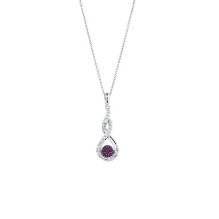 Online Exclusive - Pendant with 1/4 Carat TW of White & Enhanced Purple Diamonds in Sterling Silver