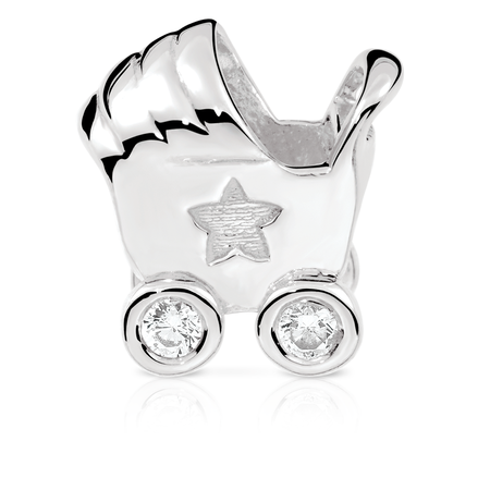 Cubic Zirconia & Sterling Silver Pram Charm