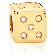Diamond Set & 10kt Yellow Gold Dice Charm