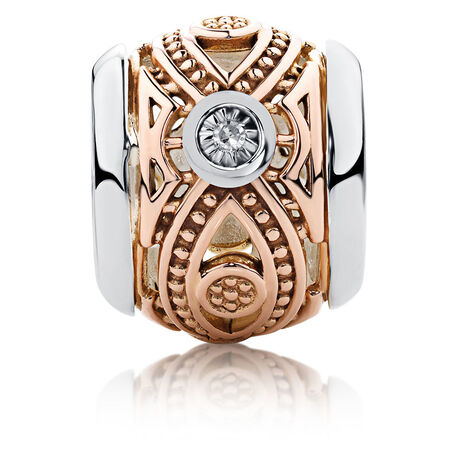 Diamond Set Patterned Charm in 10kt Rose Gold & Sterling Silver