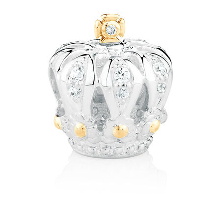 Crown Charm with Cubic Zirconia in Sterling Silver & 10kt Yellow Gold