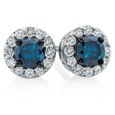 Online Exclusive - Stud Earrings with 1/2 Carat TW of White & Enhanced Blue Diamonds in 10kt White Gold