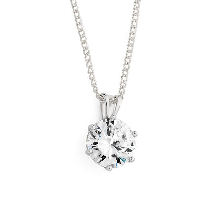 Pendant with Cubic Zirconia in 10kt White Gold