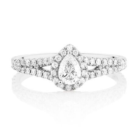 Sir Michael Hill Designer GrandAllegro Engagement Ring with 1 Carat TW of Diamonds in 14kt White Gold