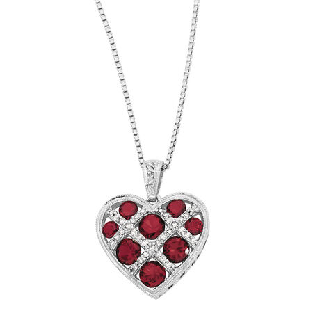 Pendant with Created Ruby & Diamonds in Sterling Silver