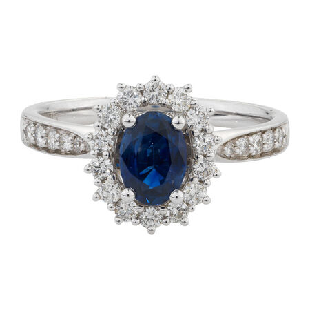 Online Exclusive - Ring with 1/2 Carat TW of Diamonds & Sapphire in 14kt White Gold