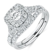 Bridal Set with 1 1/5 Carat TW of Diamonds in 14kt White Gold