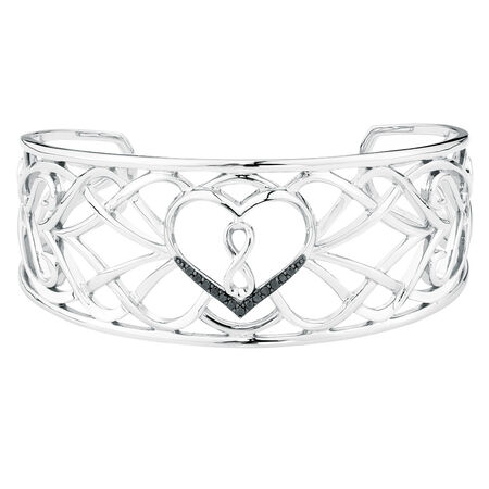 Online Exclusive - Infinitas Cuff with 1/6 Carat TW of Enhanced Black Diamonds in Sterling Silver