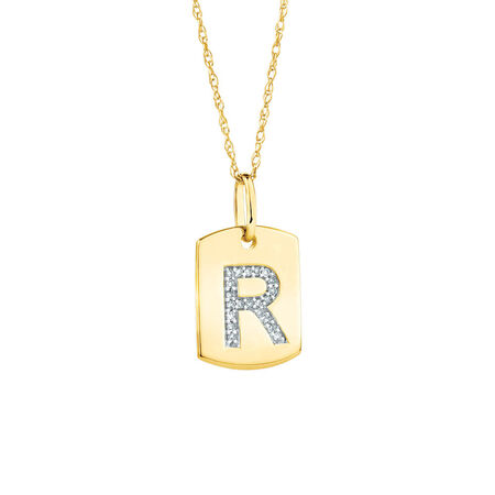 """R"""" Initial Rectangular Pendant With Diamonds In 10kt Yellow Gold"""