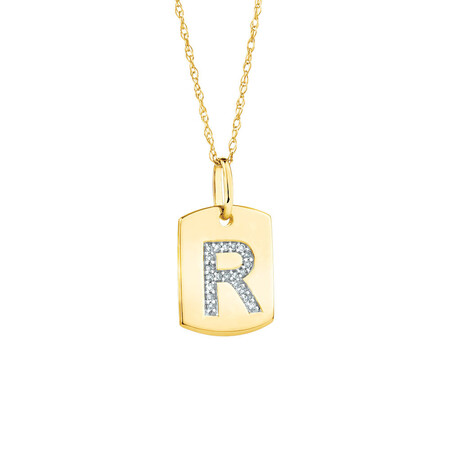 "R"" Initial Rectangular Pendant With Diamonds In 10kt Yellow Gold"
