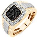 Men's Ring with 3/4 Carat TW of White & Enhanced Black Diamonds in 10kt Yellow & White Gold