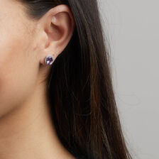Earrings with Amethyst & 1/6 Carat TW of Diamonds in 10kt White Gold