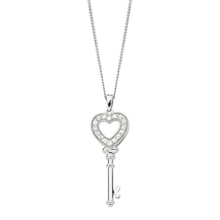 Key Pendant with Cubic Zirconias in Sterling Silver