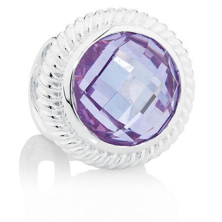 Dark Lavender Cubic Zirconia & Sterling Silver Wild Hearts Charm
