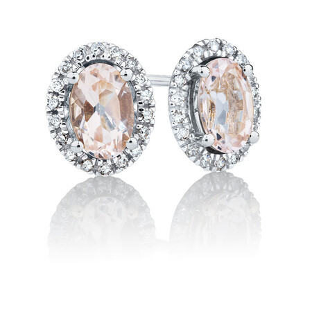 Stud Earrings with Morganite & Diamonds in 10kt White Gold