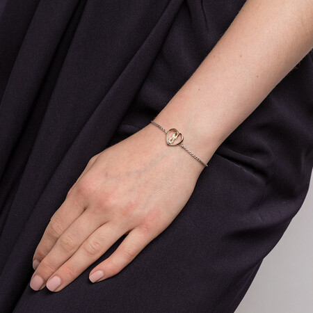 Infinitas Bracelet with 1/20 Carat TW of Diamonds in Sterling Silver & 10kt Yellow Gold