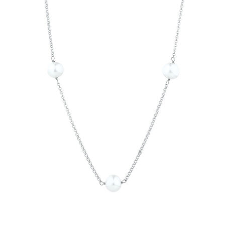 "100cm (40"") Necklace with Cultured Freshwater Pearls in Sterling Silver"