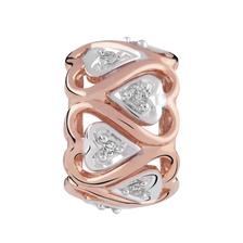Diamond Set, 10kt Rose Gold & Sterling Silver Heart Charm