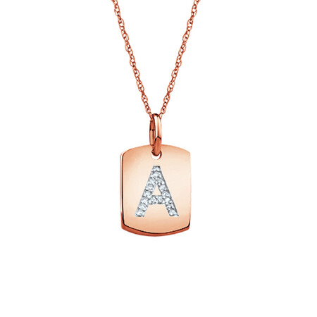 """A"" Initial Rectangular Pendant With Diamonds In 10ct Rose Gold"