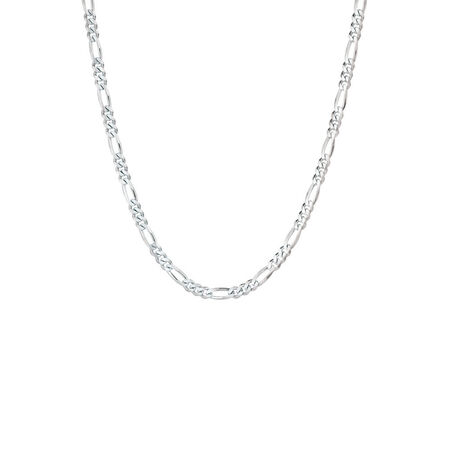 """55cm (22"""") Figaro Chain in Sterling Silver"""
