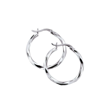 Twist Hoop Earrings in 10kt White Gold