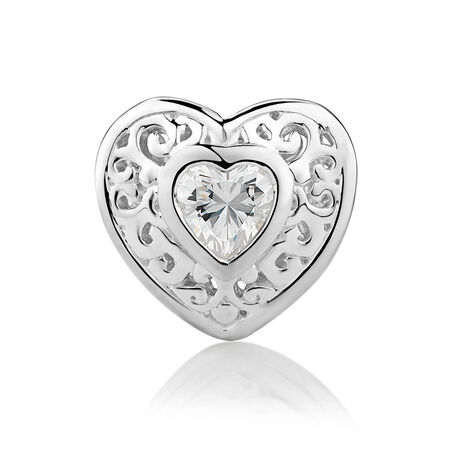 Filigree Heart Charm with Cubic Zirconia in Sterling Silver