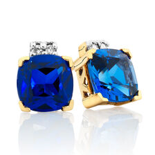 Stud Earrings with Created Sapphire & Diamonds in 10kt Yellow & White Gold