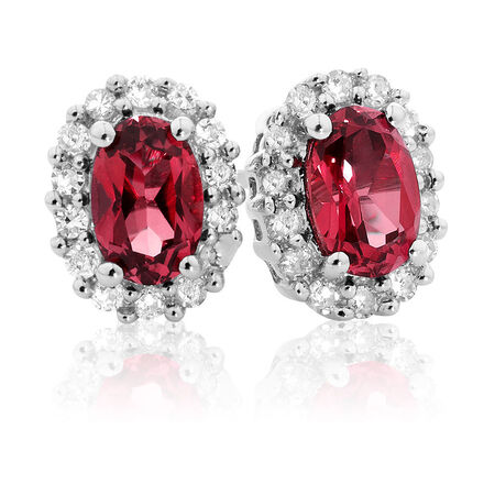 Online Exclusive - Stud Earrings with Created Ruby & 0.19 Carat TW of Diamonds in 10kt White Gold