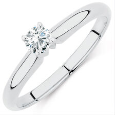 Solitaire Engagement Ring with a 1/5 Carat Diamond in 14kt White Gold