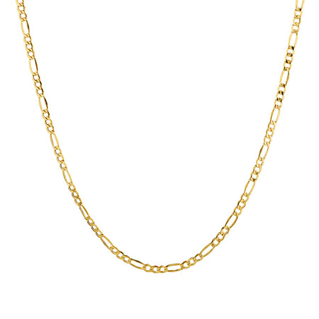 """55cm (22"""") Hollow Figaro Chain in 10kt Yellow Gold"""