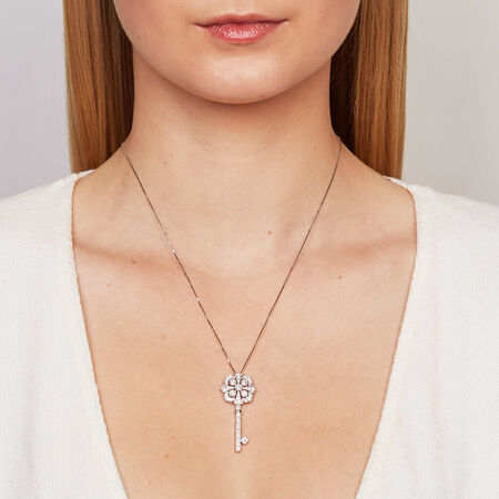 Pendant with 3/4 Carat TW of Diamonds in 10kt White Gold