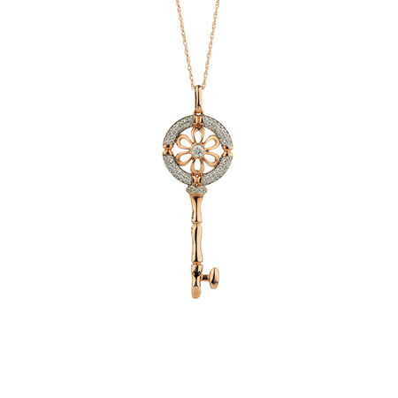Online Exclusive - Daisy Key Pendant with Diamonds in 10kt Rose Gold