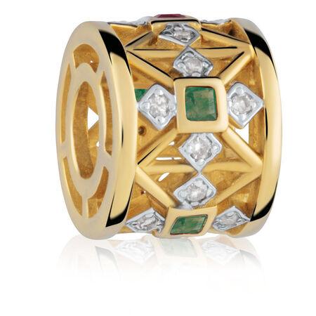 Created Emerald & Diamond Set Charm