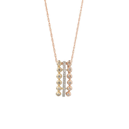 Tri Tone Pendant with Diamonds in 10kt Yellow, White & Rose Gold
