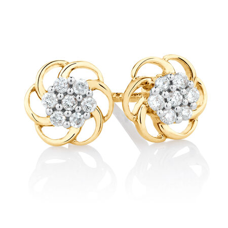Flower Stud Earrings with Diamonds in 10kt Yellow Gold